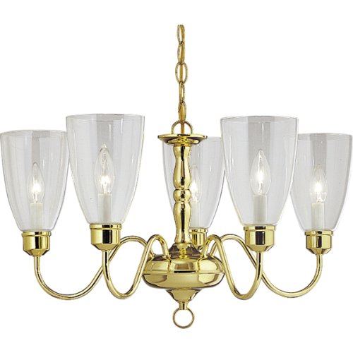 Progress Lighting P4193-10 Americana Five-Light Chandelier with Clear Glass Shades and Candelabra Lamps, Polished Brass