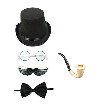 Top Hat, Bow Tie, Moustache Unisex Steampunk Fancy Dress Costume Set