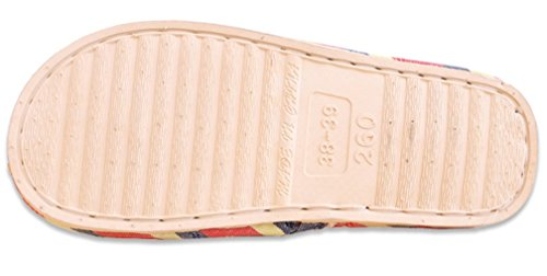 Pantofole Da Donna Cattior Strisce Pantofole Spa Punta Aperta Rosso