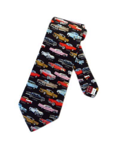 (Museum Artifacts Mens 1950s Classic Cars Necktie - Black - One Size Neck Tie)