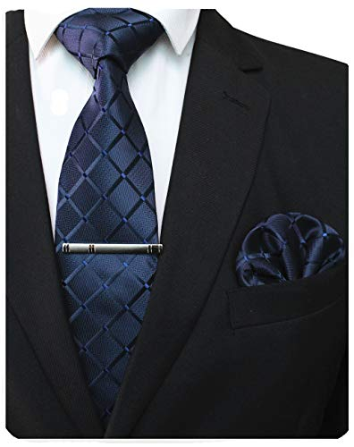 JEMYGINS Plaid Navy Blue Tie and Pocket Square Hankerchief Mens Silk Necktie with Tie Clip Sets(5)