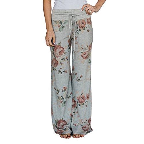 Lucky Star Women's Floral Drawstring High Waist Wide Leg Pants (Large, Grey Waist/Light (Ladies Lucky Stars)