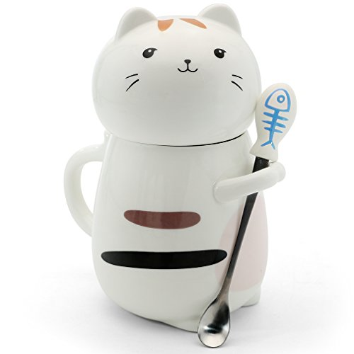 Asmwo Cute 3D Cat Mug Funny Ceramic Coffee Tea Mug with Stirring Spoon and Lid Novelty Birthday Christmas Thanks Giving Gift for Cat Lovers,White 14 oz-D (Lovers Gift Tea Set)