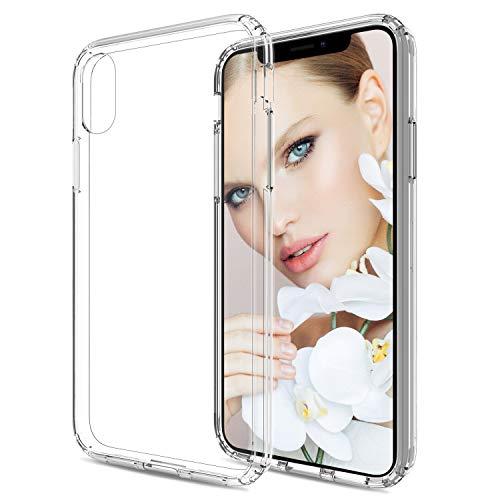 HenSun Clear Case iPhone Xs 2018/iPhone X 2017,Scratch Resistant Ultra-Thin Anti-Slip TPU Bumper Protective Glitter Cell Phone Cases Cover Women Girls Boys Men Kids Fit iPhoneX/Xs Transparent Clear