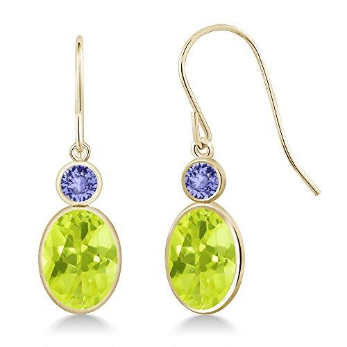 - Gem Stone King 2.94 Ct Oval Yellow Lemon Quartz Blue Tanzanite 14K Yellow Gold Earrings