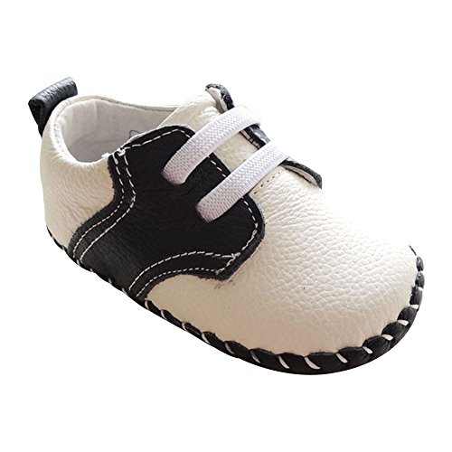 Kuner Infant Baby Boys Girls Genuine Leather Soft Bottom Non-Slip First Walkers Shoes (13cm(12-18months), White+Black-2) Boys Genuine Leather