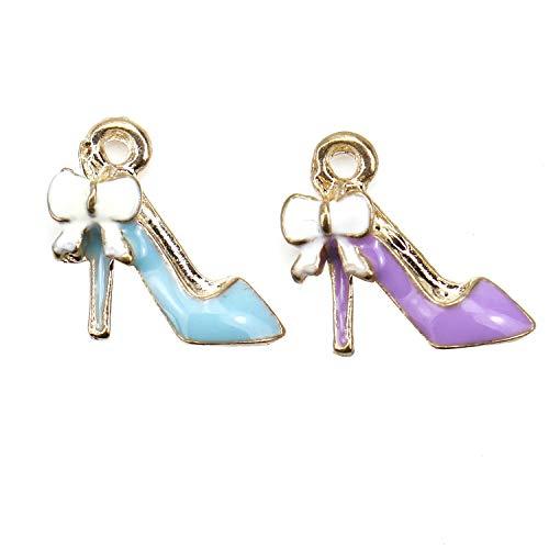 (JETEHO 20 Pack Enamel High Heel Charms Pendant Metal Shoe Charm Bulk for Bracelet Jewelry Making )