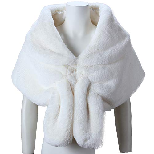 fe8cc87fd Caracilia Faux Fur Shawl Wrap Stole Shrug Winter Bridal Wedding ...