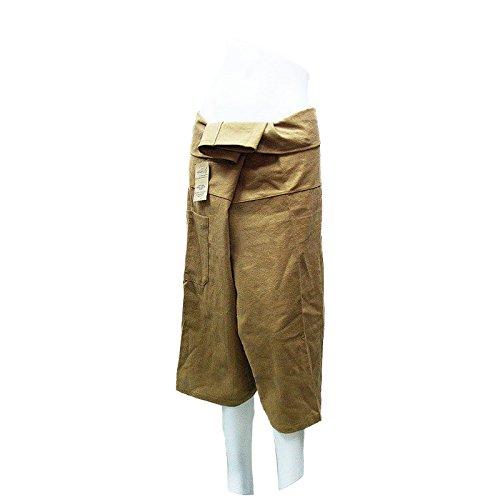 Brownish Khaki Yoga Massage Wrap Trousers Fisherman 3/4 Knee Height Pants Unique for Women & Men, Northern Thai Style ()