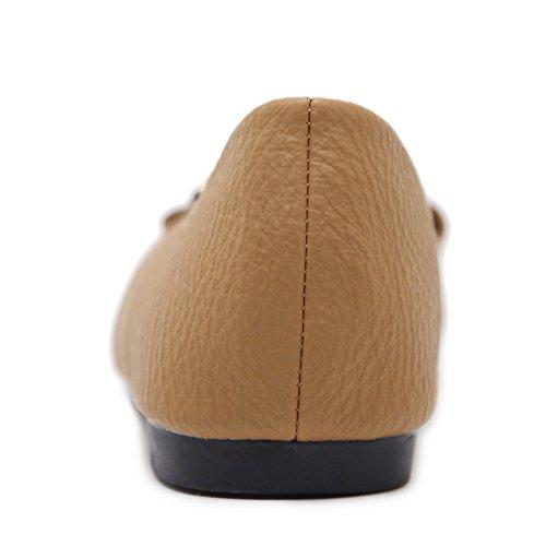 AdeeSu Womens Light-Weight Buckle Urethane Flats Shoes Brown 18WxOwcv8