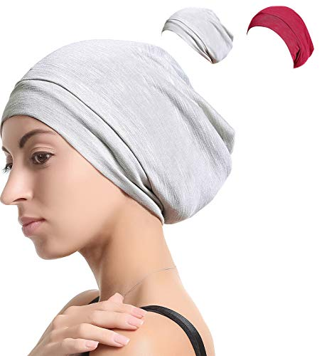 (Slap Night Cap Sleep Hat - Gray Red Women Organic Bamboo Cotton Satin Silk Satun Satin Lined Bonnet Slouchy Summer Scarf Hair Cover Beanie for Women Men Lady Lightweight Light Thin Jersey Chemo...)