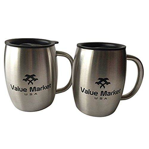 Value Market USA, Stainless Steel 16.9 oz Double Wall Insulated Coffee Beer Beverage Mug Set of 2, Brushed Steel