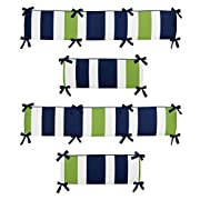 Sweet Jojo Designs Navy Blue and Lime Green Stripe Collection Crib Bumper