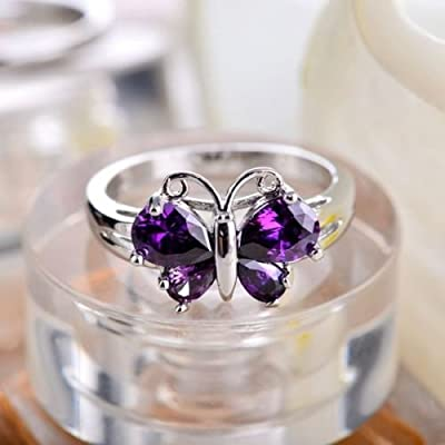 khamchanot Designer Inspired 925 Silver Butterfly Alexandrite Party Rings Jewelry Size 6-10