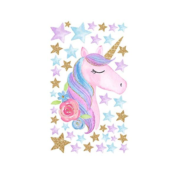 AIYANG Unicorn Wall Stickers Rainbow Colors Wall Decals Reflective Wall Stickers for Girls Bedroom Playroom Decoration (Stars,Left) 9