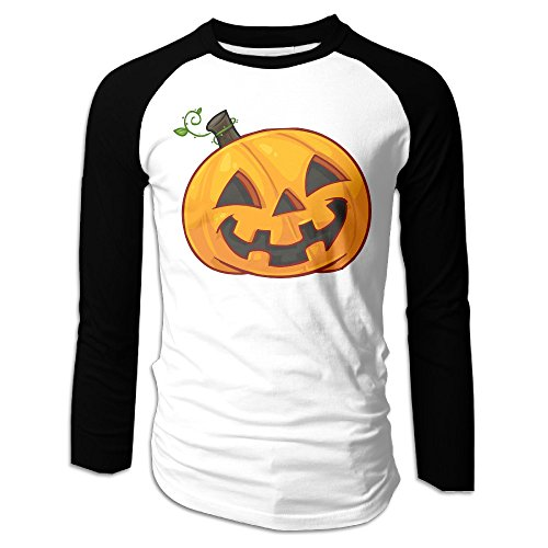Creamfly Mens Halloween Pumpkin Long Sleeve Raglan Baseball Tshirt XXL ()