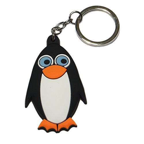 Cute silicone animal figurine with stainless steel keychain (Penguin Key)