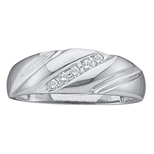 Roy Rose Jewelry 14k White Gold Round Channel-set Diamond Mens Lightweight Wedding Band 1/10-Carat tw