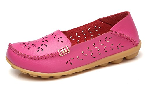 - VenusCelia Women's Breathable Natural Walking Flat Loafer(7 M US,Cherry)