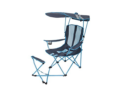 (SwimWays Kelsyus Original Canopy Chair with Ottoman - Foldable Chair for Camping, Tailgates, and Outdoor Events - Blue/Grey)