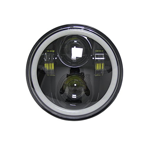 5-3/4 5.75 inch LED Headlight halo Ring white DRL l Hi/Lo Beam for Harley Sportsters Touring - Super Glide Dyna (Black)