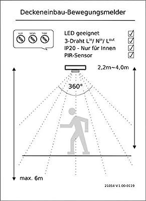 Foco con detector de movimiento para empotrar ChiliTec color plateado giro 360/°