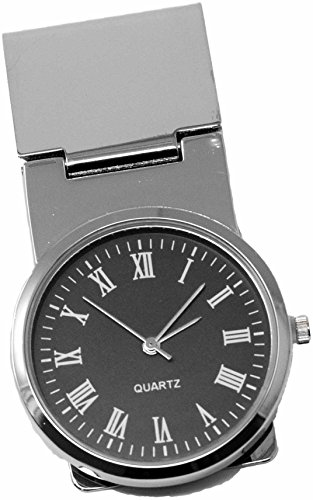 Round Black Watch Stainless Steel Hinged Money Clip