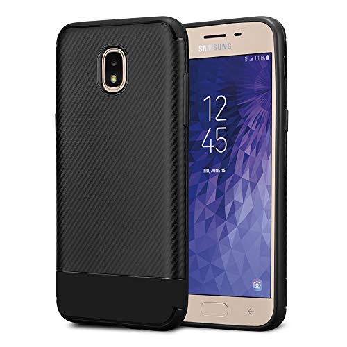Kit Me Out World Galaxy J3 (2018) Case TPU Gel Durable Protective Protection Carbon Fiber Effect Cover for Samsung Galaxy J3 (2018) - Black