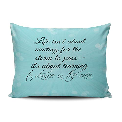 XIUBA Pillowcases Aqua Mint and Turquoise Learning to Dance in The Rain Quote Customizable Decorative Rectangle 12x20 inch Boudoir Size Throw Pillow Case Hidden Zipper One Side Design Printed -