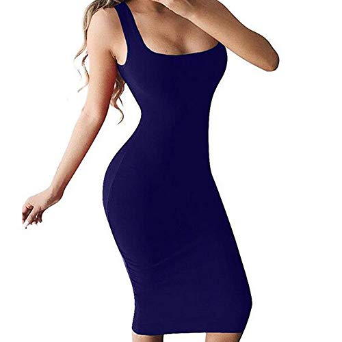 URIBAKE 2019 Women Sexy Bodycon Solid Dress Soft Stretch Sleeveless Strappy Knee Length Club Tank Dress Dark Blue