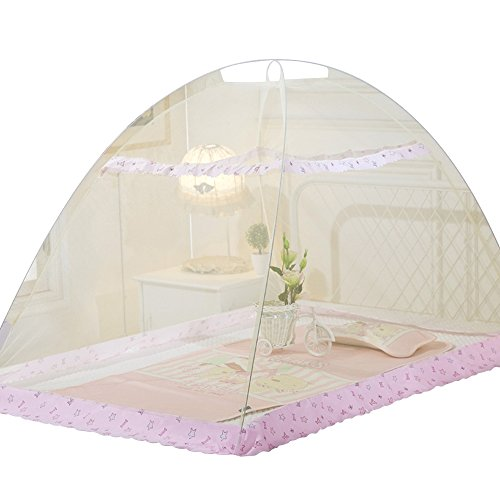 Pop-Up Mosquito Net Tent Baby Bed Canopy Indoor Outdoor Safety Insect Netting (Yellow)