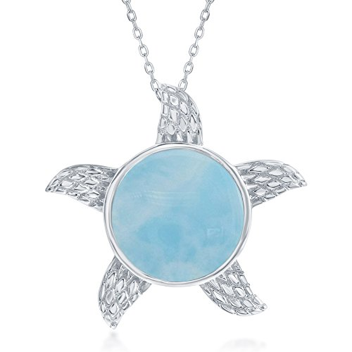 Sterling Silver High Polish Natural Larimar Designed Starfish/Sun Nautical 18 Pendant Necklace