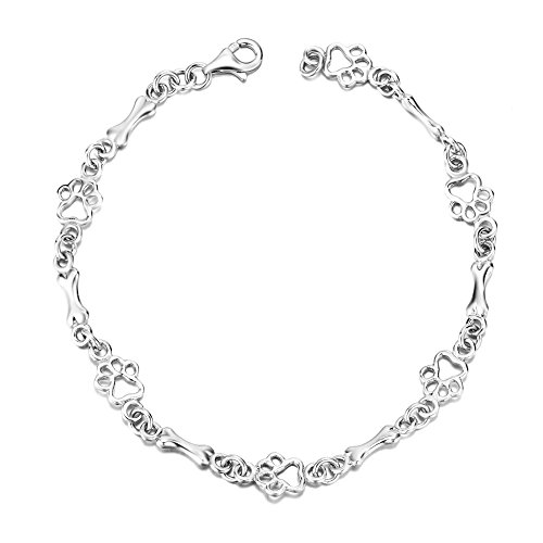 LUHE Paw Print Bracelet Sterling Silver Cute Dog Bone Paw Bracelets for Women Girls, 7.5
