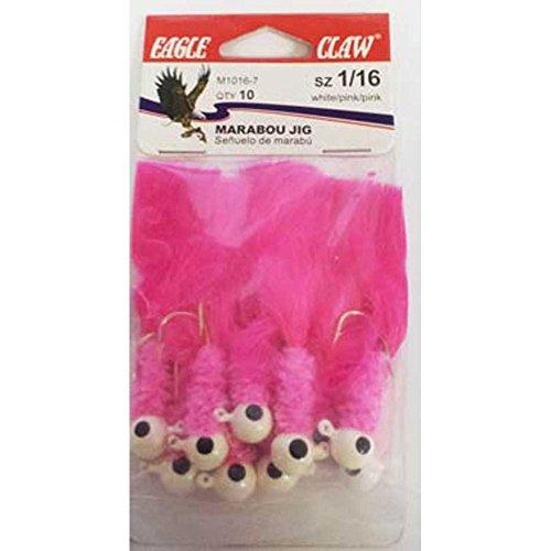 Eagle Claw Laker Marabou Jig, White/Pink/Pink Finish, 1/8 oz