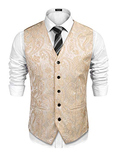 COOFANDY Men's Suit Vest V-Neck Paisley Embroidery Tuxedo Dress Waistcoat Beige