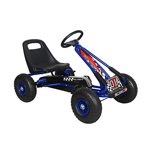 NextGen Pedal Go Cart for Children with Adjustable Seat & Pneumatic Tires, Blue (Kids Pedal Go Cart)