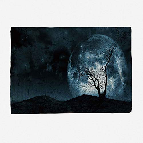 Super Soft Throw Blanket Custom Design Cozy Fleece Blanket/Perfect for Couch Sofa or Bed/78x59 inches/Fantasy,Night Moon Sky with Tree Silhouette Gothic Halloween Colors Scary Artsy Background,Slate B -