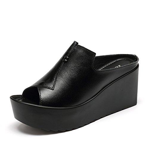 Eu39 Estiva Donna Nero Scarpe Bianca Da 5cm Alto Moda Sandali Haizhen Ciabatte E Dimensioni Pantofole Per Col Le cn39 Tacco nero 8 uk6 bianco Donne colore xwBv4q