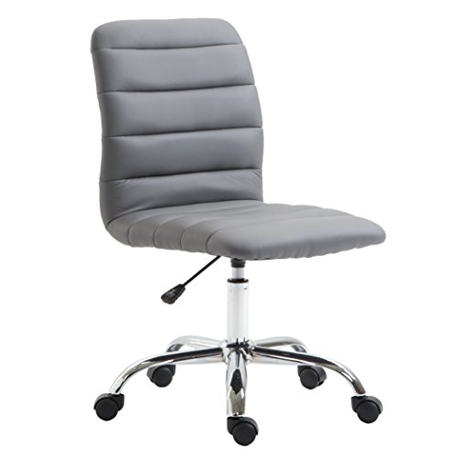 POLY BARK EM-306-GRY Polox Task Chair in Vegan Leather, Grey