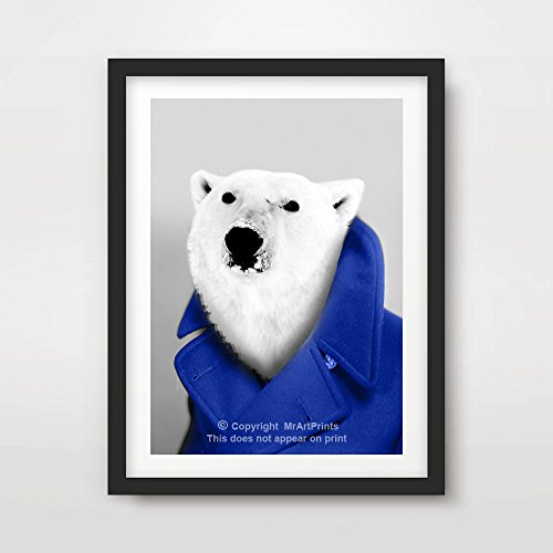 - POLAR BEAR QUIRKY ANIMAL HEAD PORTRAIT Art Print Poster Home Decor Wall Picture Human Body Eccentric Bizarre Funny Vintage Odd Bizarre Unusual A4 A3 A2 (10 Sizes)