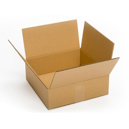 Pratt PRA0031 100% Recycled Corrugated Cardboard Box, 10'' Length x 10'' Width x 4'' Height, Kraft by Pratt