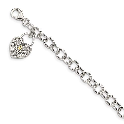 Roy Rose Jewelry Shey Couture Collection Sterling Silver with 14K Yellow Gold Diamond Heart Lock and Key Bracelet 7'' Length