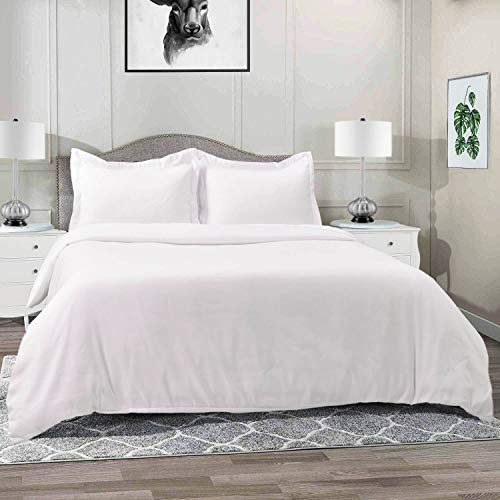 Vailge 3-Piece 120gsm Microfiber Duvet Cover Set,Ultra Soft Double Brushed MicrofiberHotel Collection Bedding,Durable and Breathable Comforter Cover with Zipper Closure & Corner Ties(Queen,White)