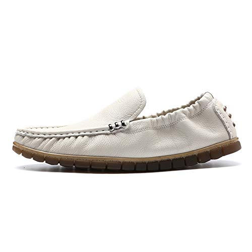 Zapatos 0cm Cuero Gommino de Blanco Zapatos Barco Hcwtx tamaño de Remache Moccasin 26 cómodos Planos Hombres Genuino de Zapatos Blanco Amarillo Gommino Negro Respirables Moccasin de de 24 los 5cm dx61A0qnw0