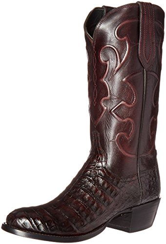 Lucchese Classics Men's Charles-blk Chry Bly Croc/Cord Derby Riding Boot, Black Cherry, 11 2E US ()