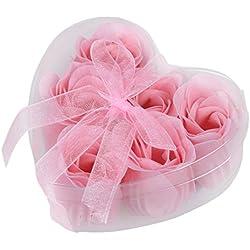 SODIAL(R) 6 Pcs Light Pink Decorative Fragrant Rose Bud Petal Soap Wedding Favor