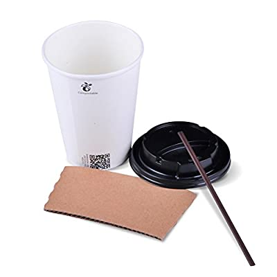 Luckypack 12 oz Disposable Coffee Cups with Travel Lids Sleeves and Straws 100% Biodegradable & Compostable Pla Eco Friendly Hot Disposable Cups