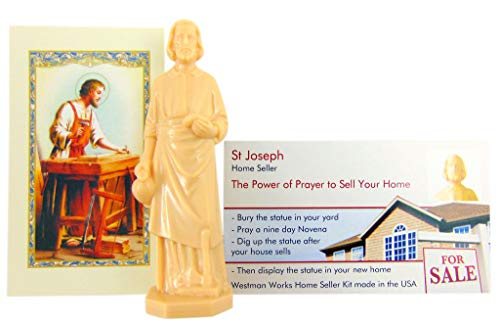 Westmon Works St Joseph Statue for Selling Homes with Instruction Card and Novena Prayer Complete Kit (St Joseph Prayer To Sell My House)