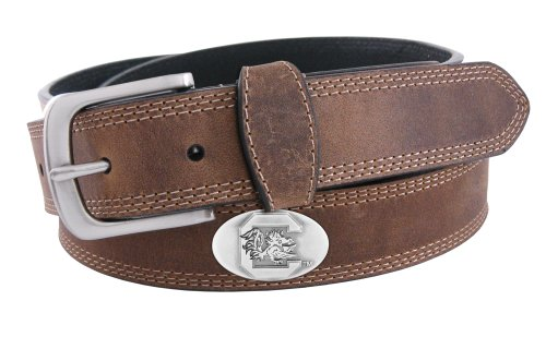 NCAA South Carolina Gamecocks Light Crazyhorse Leather Concho Belt, Light Brown, - Leather Belt Concho Brown