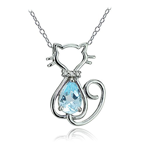 (GemStar USA Sterling Silver Blue Topaz Filigree Cat Slide Pendant Necklace)